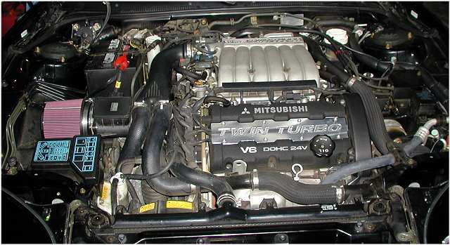 Stock: 320 Hp twin turbo, intercooled, DOHC, 24V, 3 litre V6.